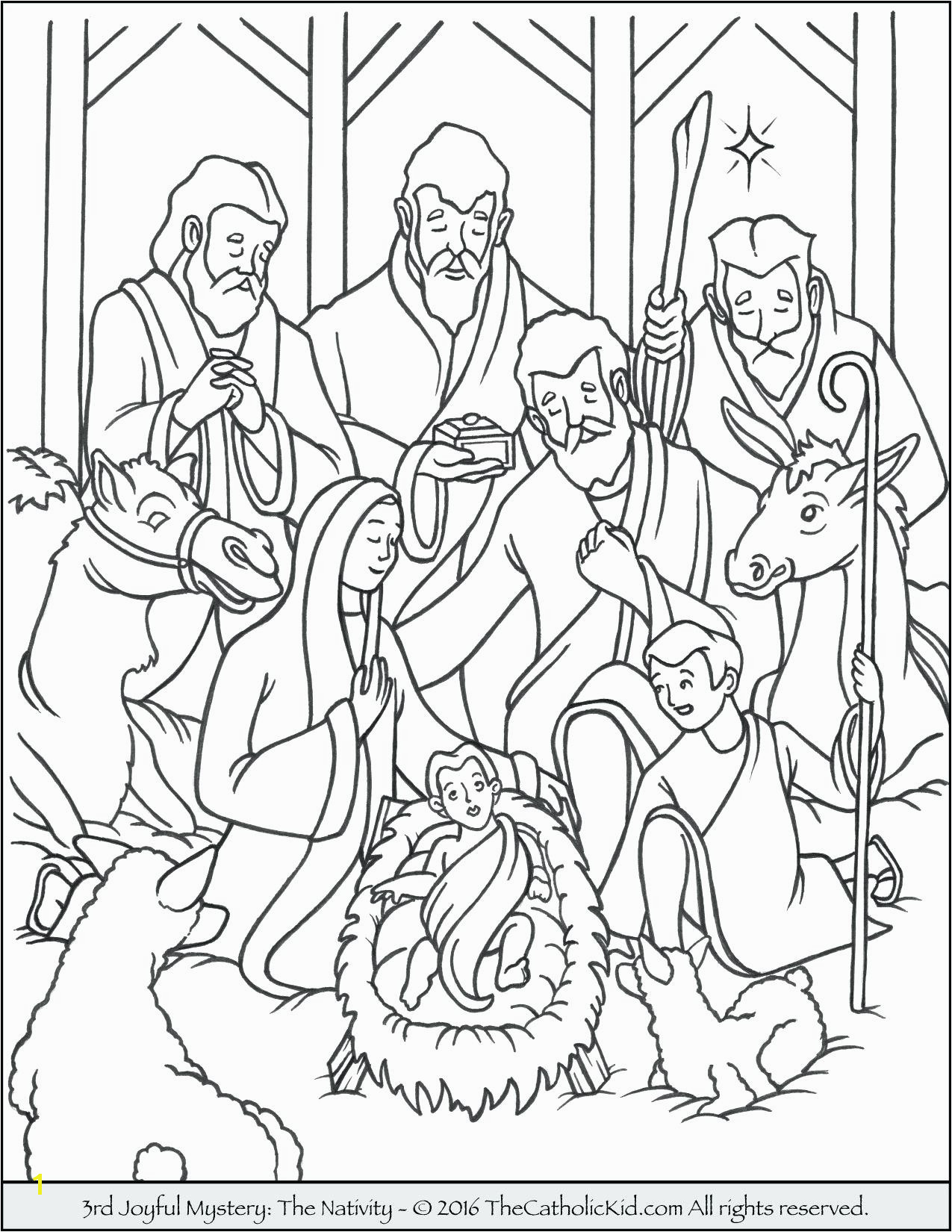Awesome Nativity Colouring Sheets Coloring Page Away In A Manger Pages