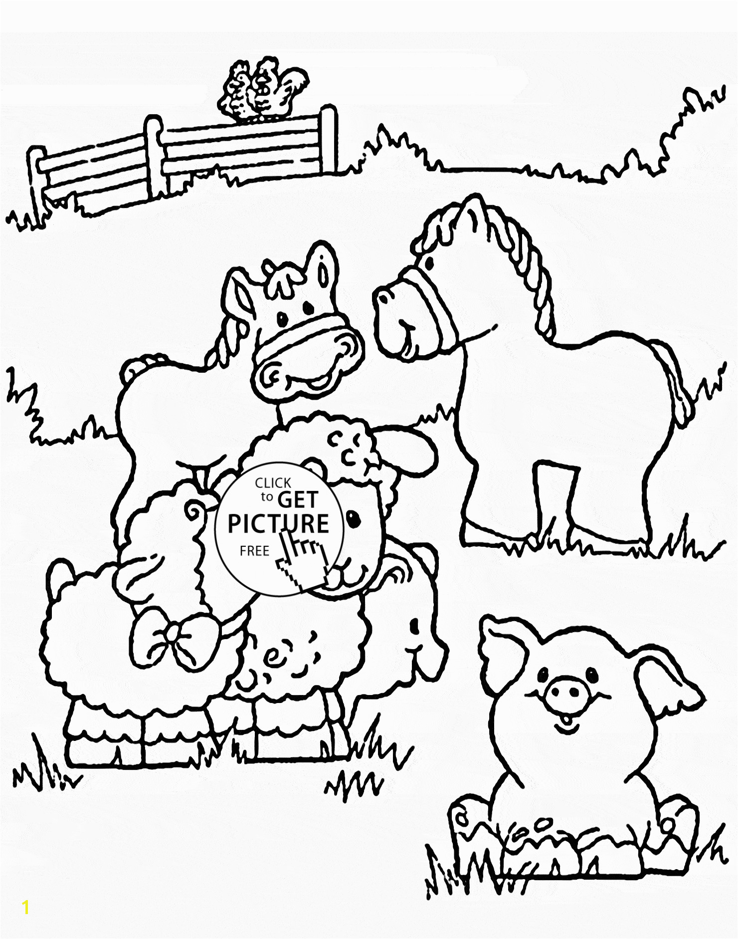 Funny Farm Animals coloring page for kids animal coloring pages printables free Wuppsy