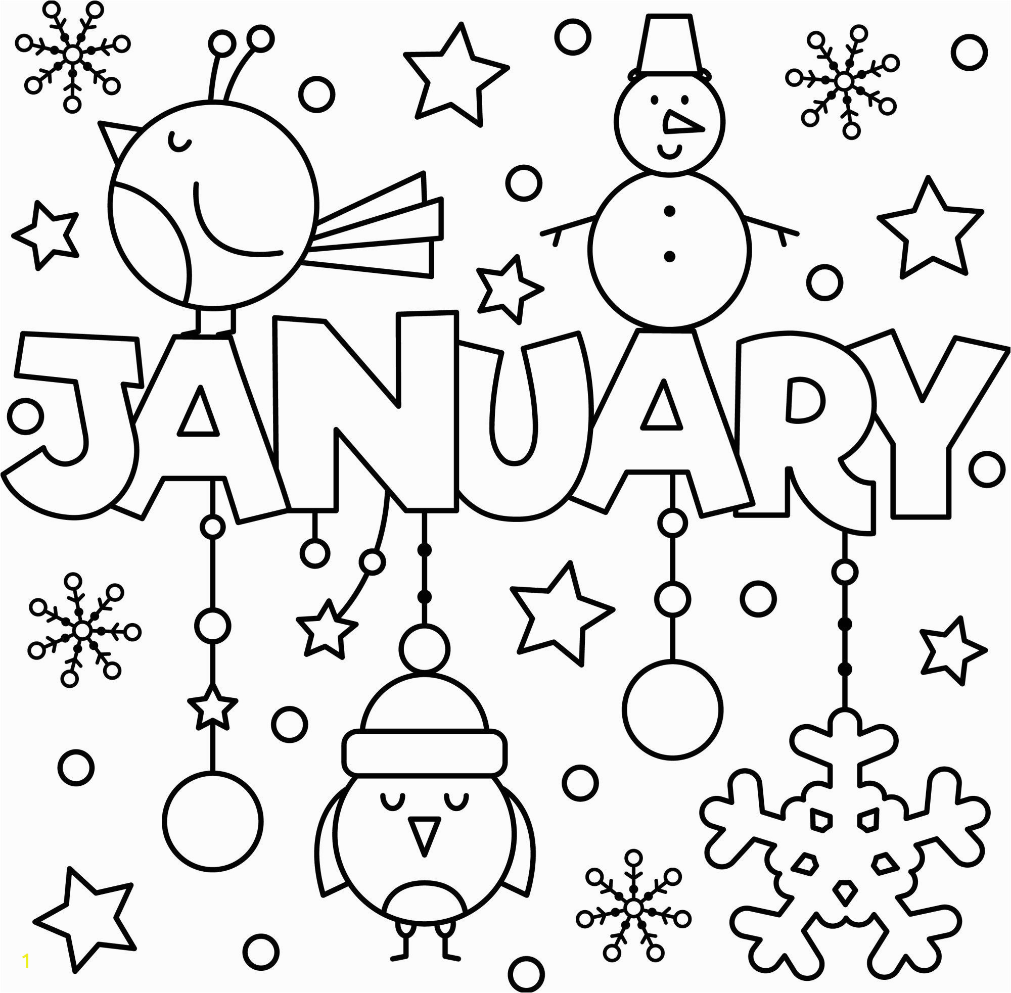 January colouring page printable