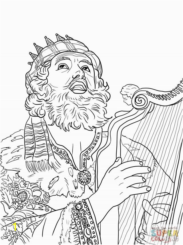 King David Playing The Harp Coloring line Super Coloring