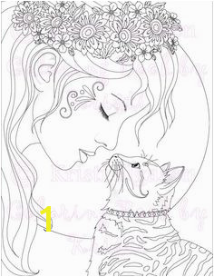 Adult Coloring Page Cat Coloring Page Fantasy Coloring The Kitty Kiss Printable Digital Download Coloring Book By Kristi