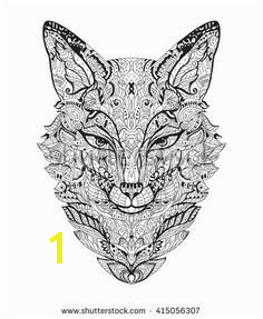 Zen art fox Zentangle animal head for the adult antistress coloring book on white background Vector illustration Hand drawn zendoodle Coloring page
