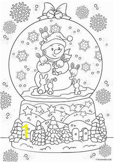 Snowman in a snow globe Printable Adult Coloring Pages Coloring Pages For Kids Coloring