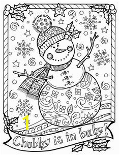 Snowman Coloring page Chubby Christmas Adult Color Holidays Instant Dowmload