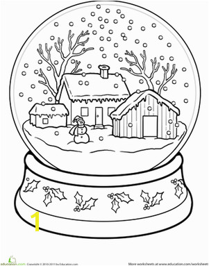 Winter First Grade Holiday Worksheets Snow Globe Coloring Page