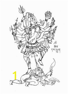 Lord Shiva with eight arms