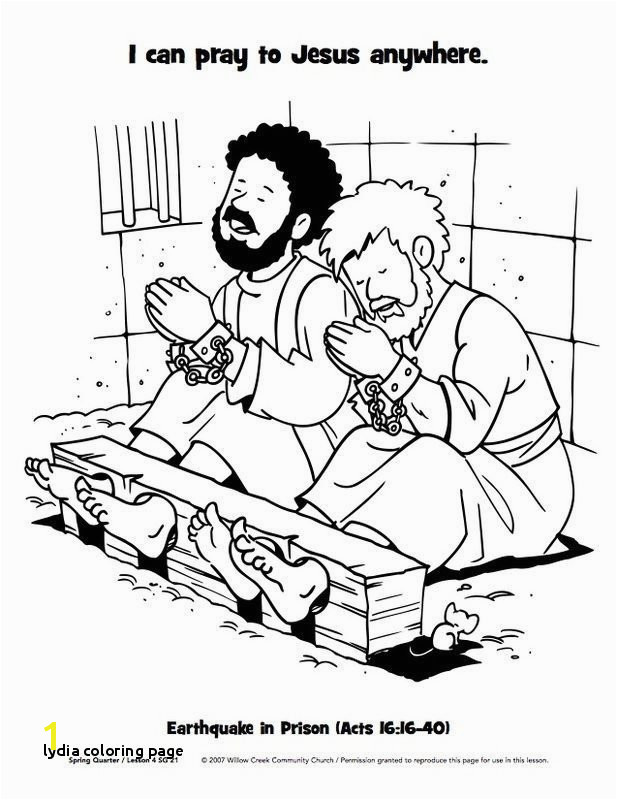 Lydia Coloring Page Paul and Silas In Jail Coloring Page