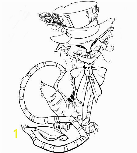 Mad Hatter Hat Coloring Page Pin by Ben Jorae On Cheshire Cat Tattoos Ideas