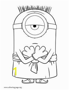Enjoy with this free Minions movie coloring page In this picture Stuart is dressed