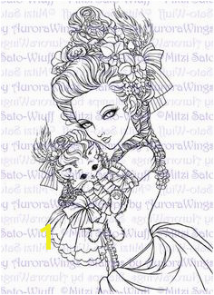 Digital Stamp Marie Nyantoinette Marie Antoinette Holding a Cat in a Wig Fantasy Line Art for Cards & Crafts by Mitzi Sato Wiuff