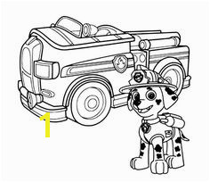 Good Paw Patrol Printable Coloring Pages Paw Patrol Marshall With Fire Truck Coloring Page