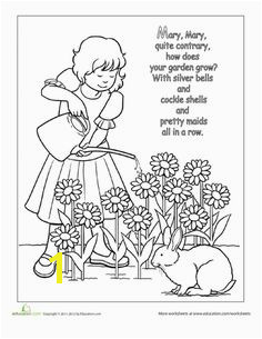 Nursery Rhyme Coloring Mary Mary Quite Contrary