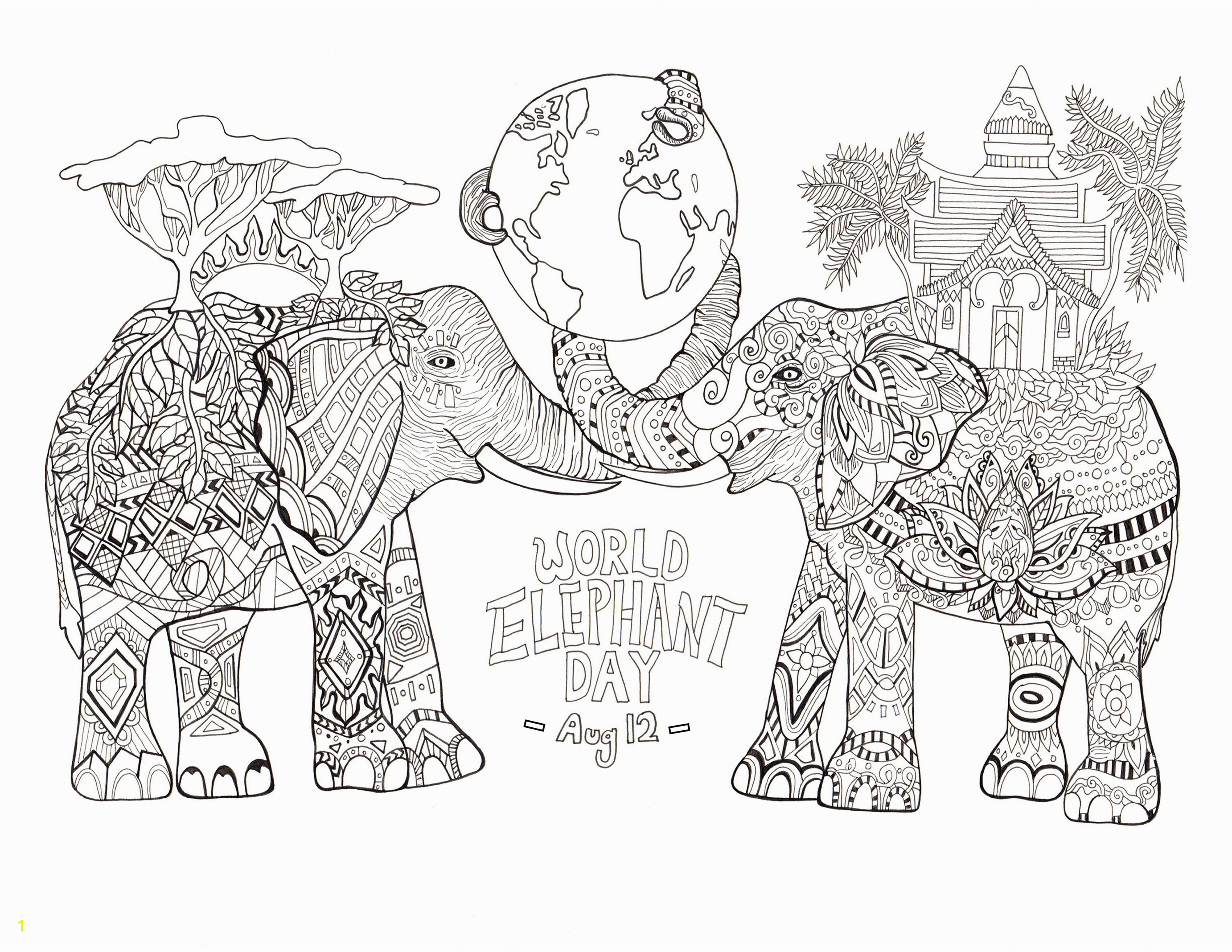 Mechagodzilla Coloring Pages Elephant Adult Coloring Pages Throughout Edge Elephant Adult