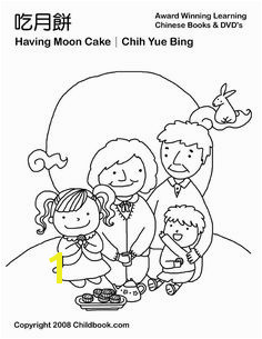Eating Moon Cakes Chinese Moon Festival Coloring Page Lunar Festival Chinese Moon Festival