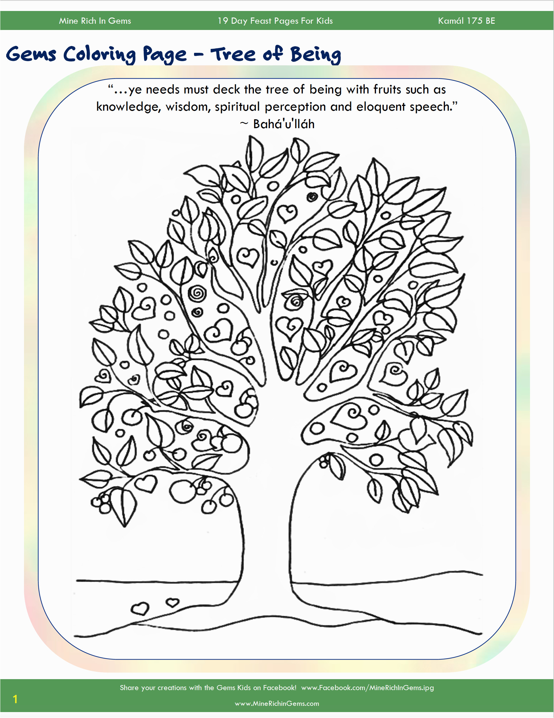 Coloring Page from Mine Rich in Gems for the 19 Day Feast of Kamál Perfection