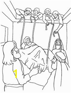 Jesus Heals the Paralytic Coloring Page Jesus Heals Paralyzed Man Jesus Heals Craft