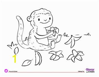 Coloring Page Jungle Animals Monkey & Bananas