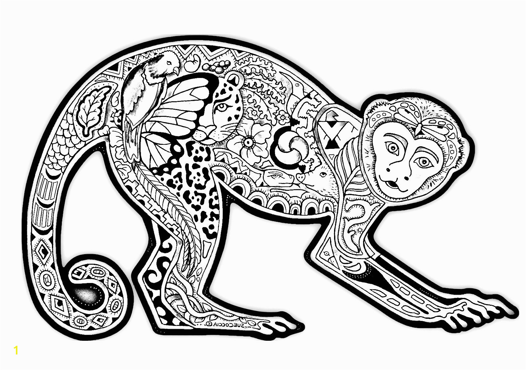 Free coloring page coloring difficult monkey A coloring page with a monkey full of various plant patterns