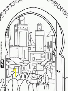 the oldest and walled part of Fes Morocco The medina s hustle and bustle seen from one of its doors coloring and printable page
