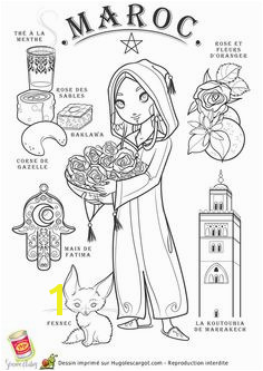 coloring page with symbols representing Morocco in French