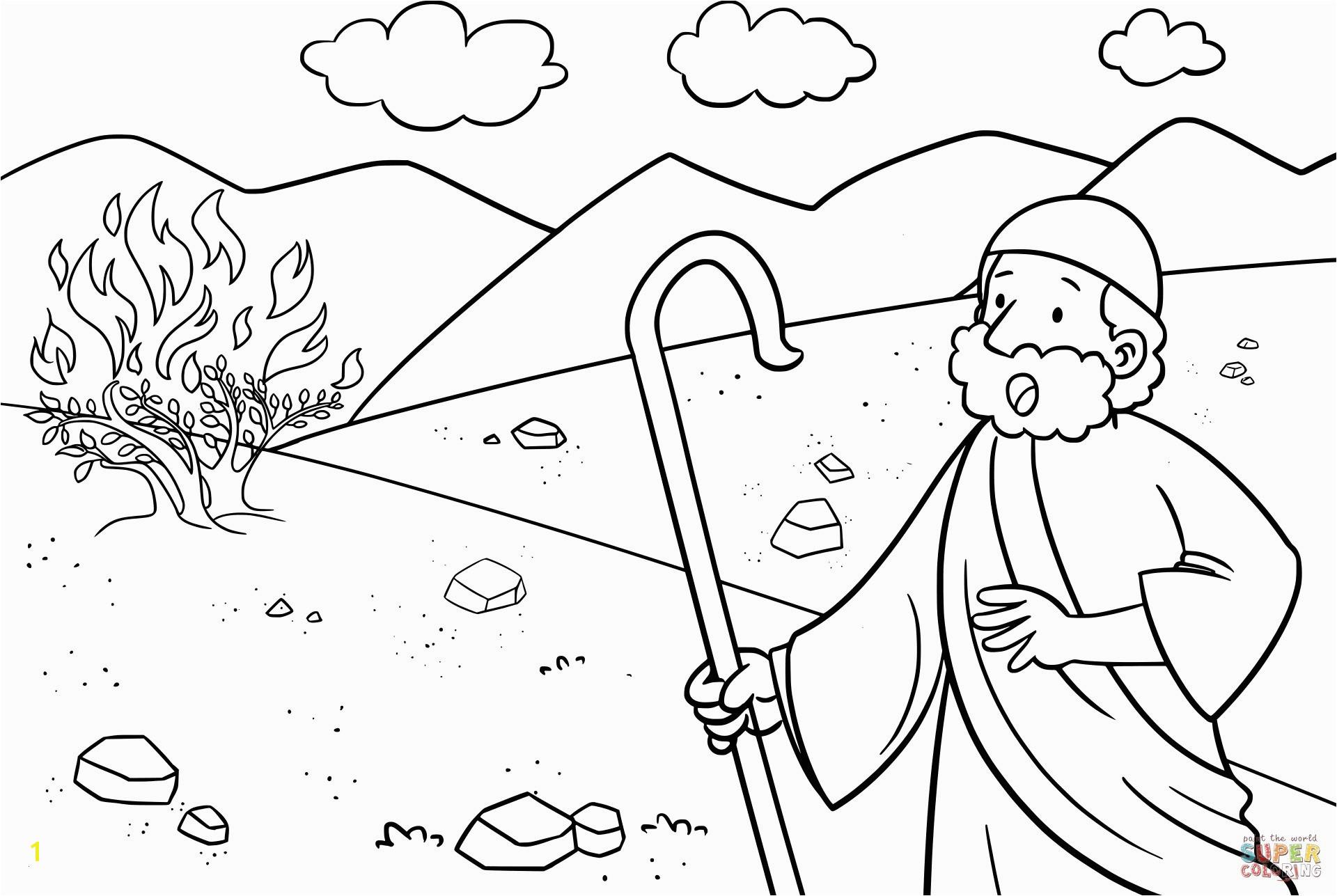 Moses Burning Bush Coloring Page