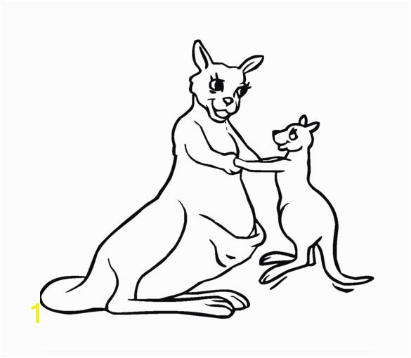 Baby Kangaroo with Mother coloring page Template
