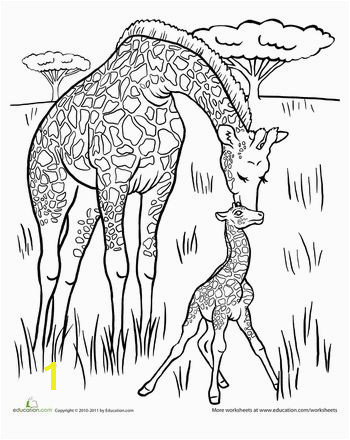 Baby Giraffe Coloring Page Five in a Row FIAR Pinterest