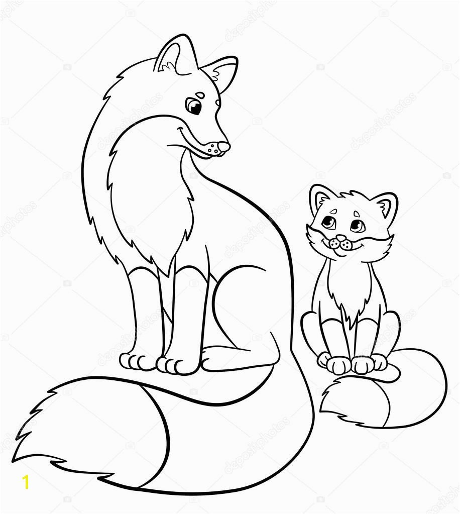 Coloring pages Wild animals Mother fox with her little cute baby fox smile — Wektor od ya mayka