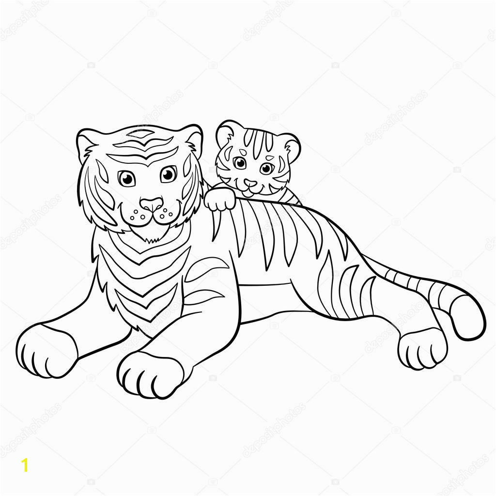 Coloring pages Wild animals Smiling mother tiger with her little cute baby tiger — Wektor od ya mayka