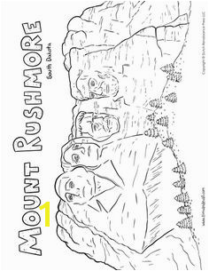 A printable coloring page of Mount Rushmore in South Dakota depicting presidents George Washington