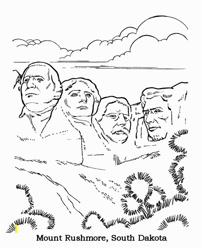 Mt Rushmore National Park Coloring Page