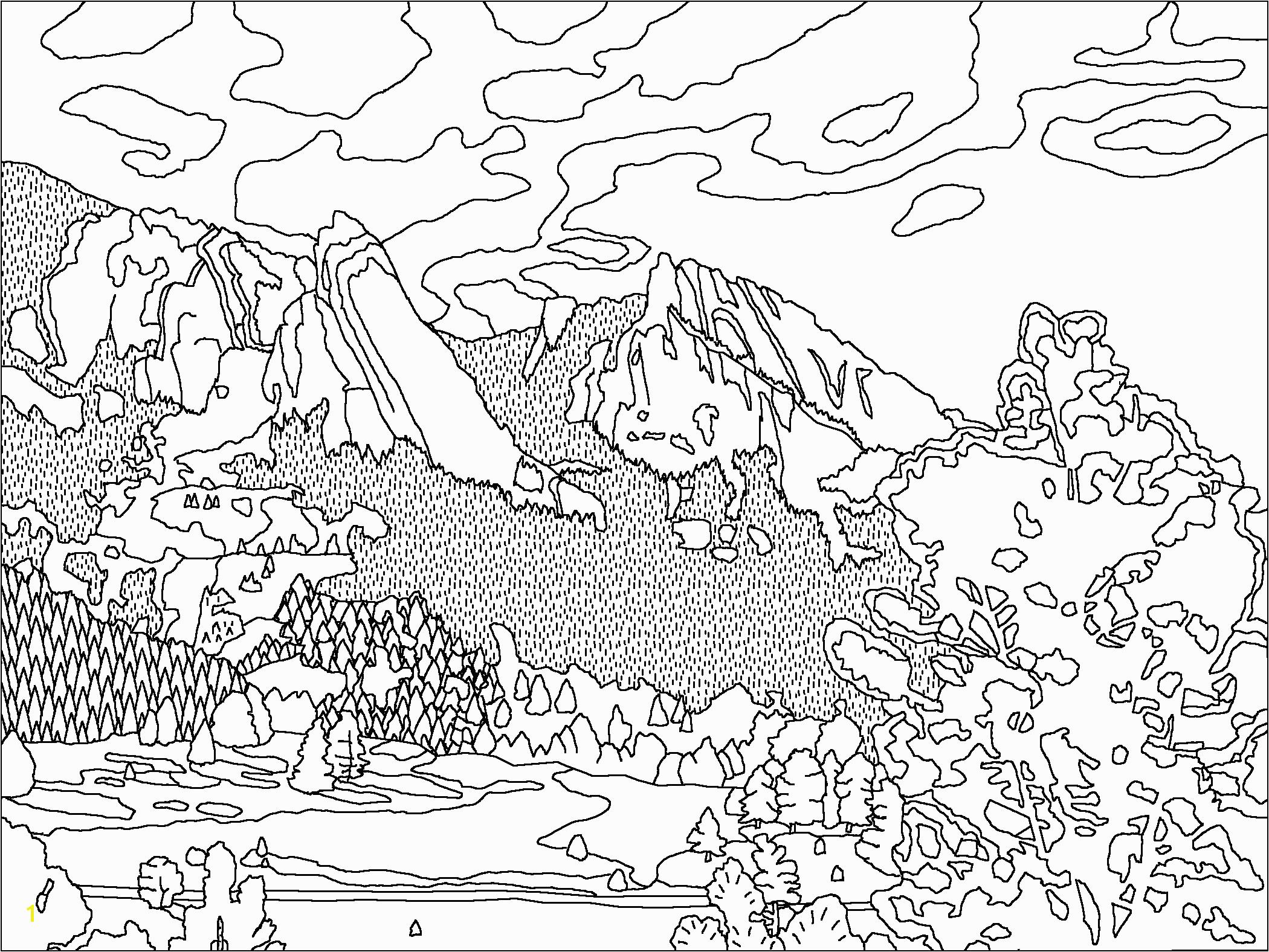 Printable Mountain Range Coloring Page