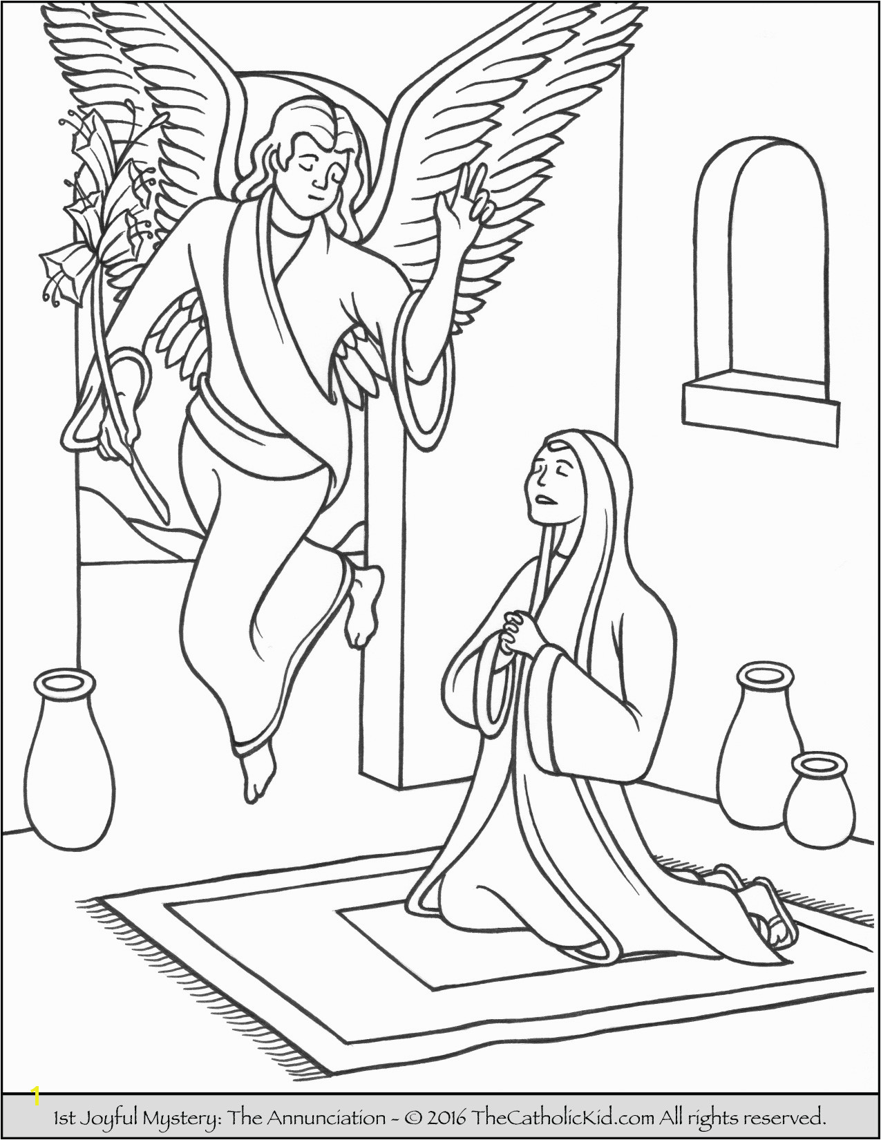 Gabriel Visits Mary Coloring Page Funky Angel Coloring Sheets Crest Coloring Paper