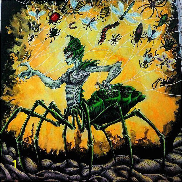 Po dlhej dobe dokončená Arachné od kerbyrosanes kerbyrosanes mythomorphia mythomorphiacoloringbook prismacolor