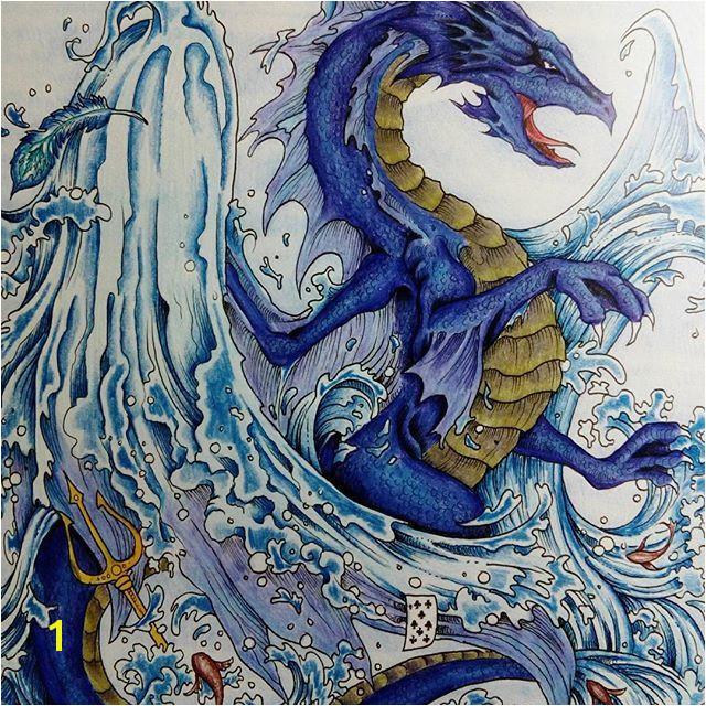"""The waterdragon"" kerbyrosanes mythomorphia imagimorphia animorphia adultcolouring coloringbooksforadults"