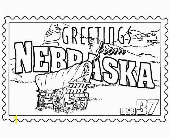 Nebraska State Stamp Coloring Page