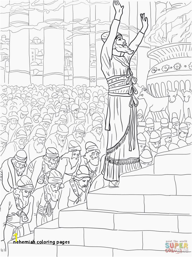 Best Nehemiah Builds the Wall Coloring Page Picture