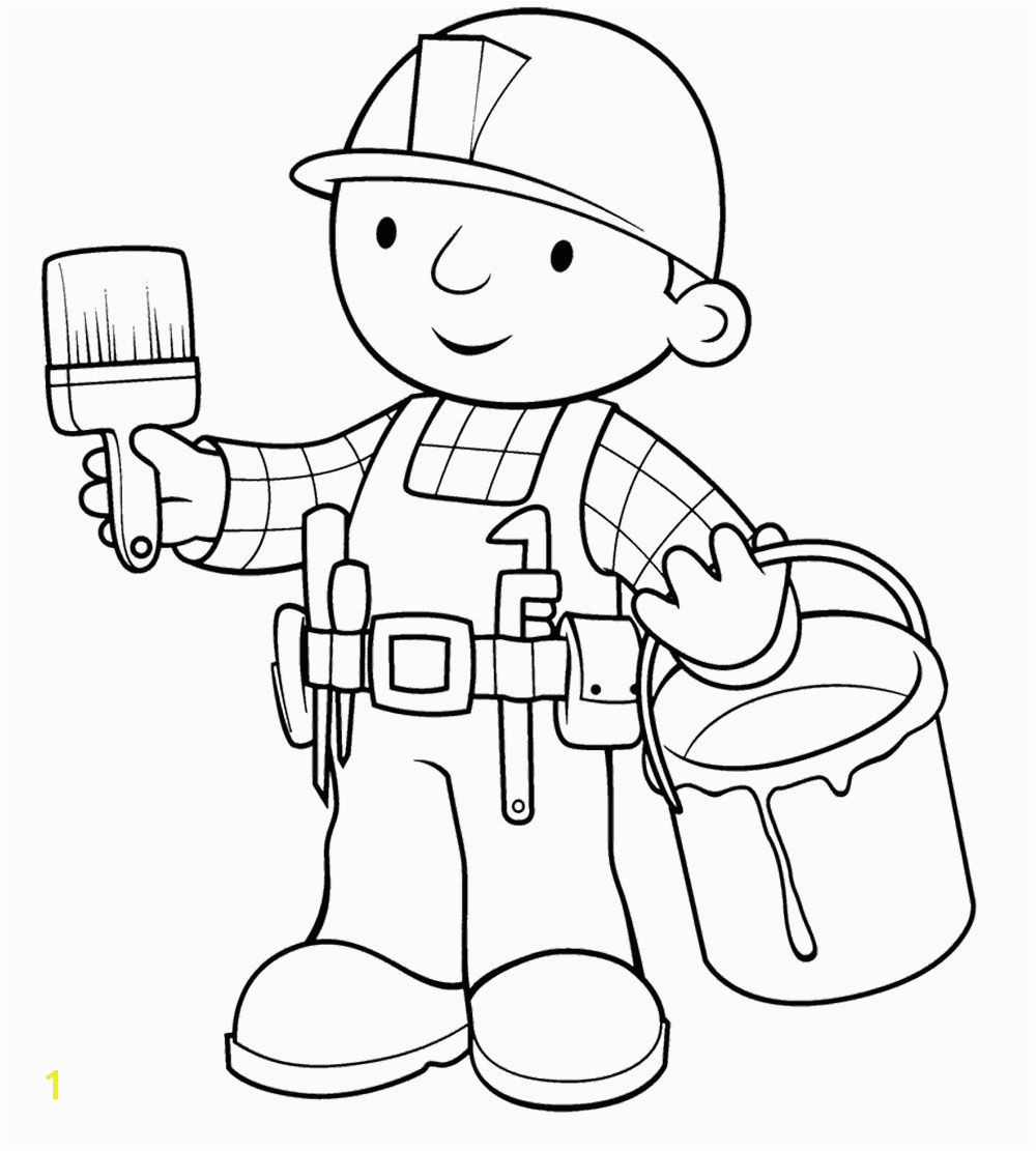 Bob The Builder And Paintbrish Coloring Page