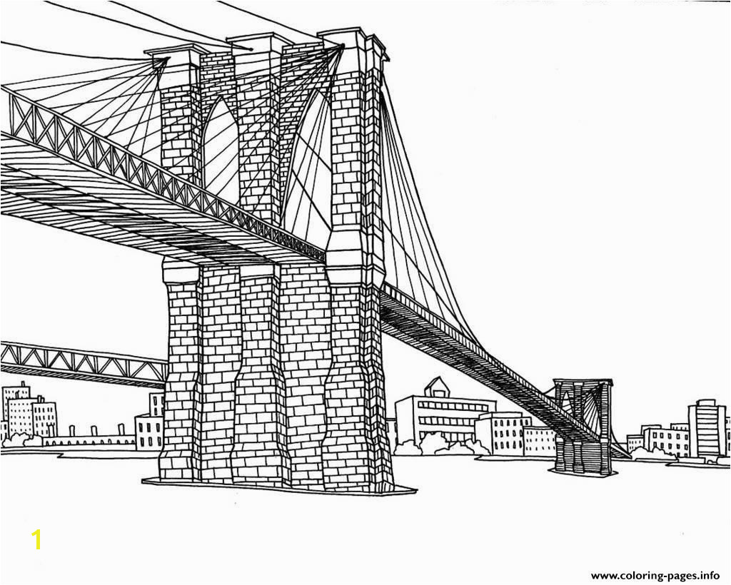 Special City Coloring Pages For Adults Adult New York Pont Brooklyn