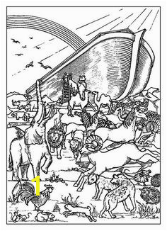 Noahs Ark A Rainbow Behind the Noahs Ark Before the Flood Coloring Page Coloring