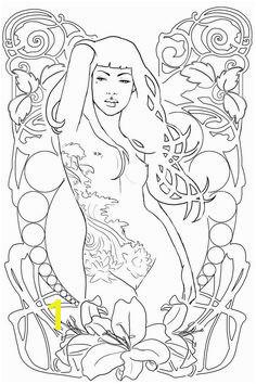 Art Nouveau V sketch Mermaid Coloring PagesCool