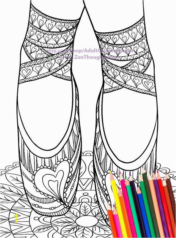 Printable Coloring Page LOVELY BALLET SLIPPERS Download and Color
