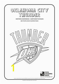 Cool Coloring Pages NBA Basketball Clubs Logos Western Conference Northwest Division Oklahoma City Thunder logo Coloring page with Oklahoma City