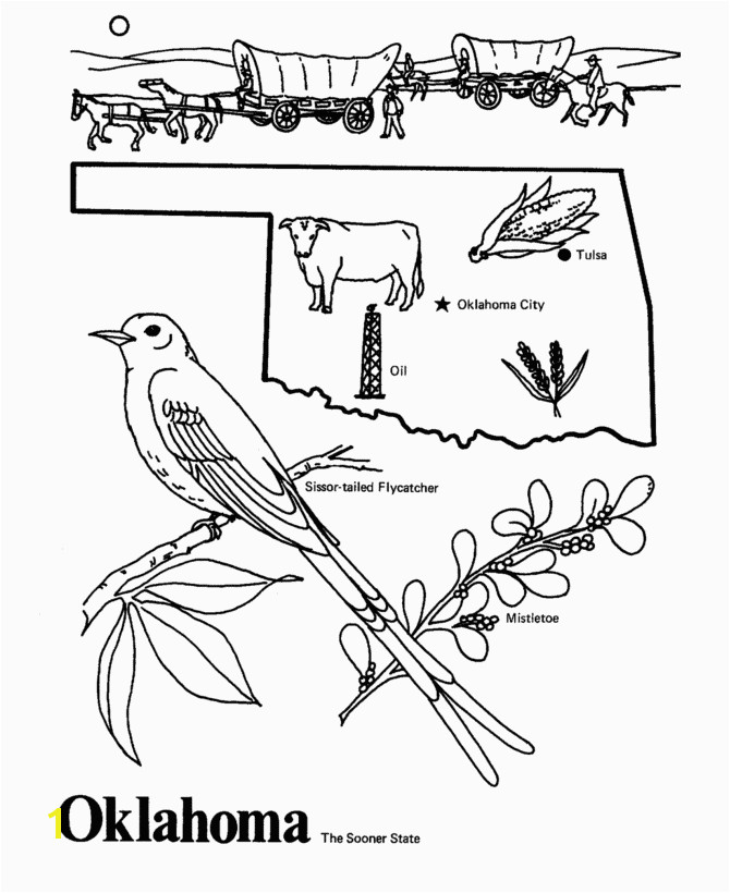 Oklahoma State outline Coloring Page