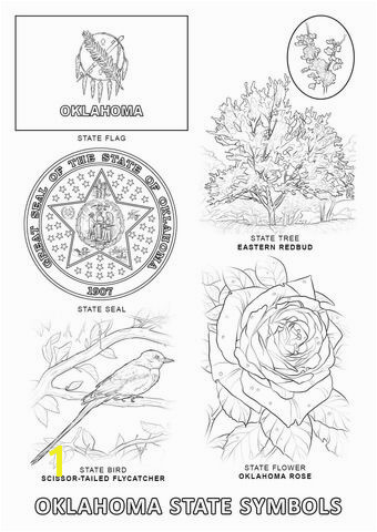 Oklahoma State Seal Coloring Page Oklahoma State Symbols Coloring Page From Oklahoma Category Select
