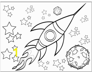 A rocketship flies by a planet and through the stars in this printable outer space coloring page