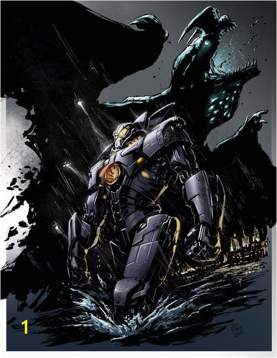 "Pacific Rim ""Gipsy Danger vs Otachi"" color print"