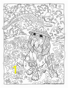 "Creative Haven Dazzling Dogs Coloring Book by Marjorie Sarnat "" Paleontologist"" Dog Coloring Page"