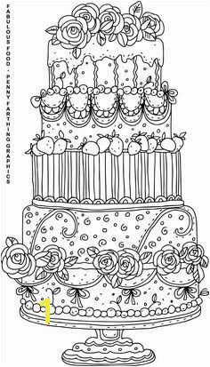 "Cake from ""Fabulous Food"" coloring page for adults"