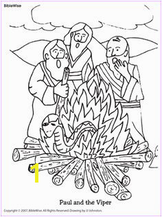 Coloring Paul and the Viper Kids Korner BibleWise Bible Coloring Pages